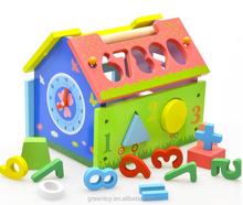 wooden block DIY toys doll house