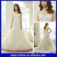 WE-1540 Ruched fitted bodie a line ruffled skirt new model 2015 wedding dresses alibabas
