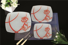 2015 New Design Tempered Glass Plate Dinner Dishes Sets Serving Plates