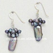 ( silver tone ) bright gem OL peach heart tassel earrings / ear accessory
