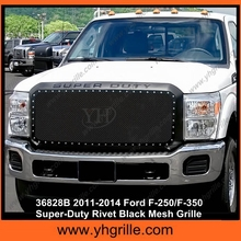 1.8MM Wire Mesh Rivet Style Stainless Steel Material Black 2011-2014 Ford F-250/F-350 Super-Duty Rivet Mesh car front Grille