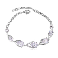 Fashion rosegold plated jewelery unique platinum plated water drop three color zircon bracelets new products for market