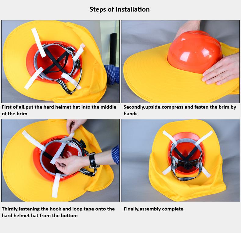 steps of installation of hard helmet hat brim