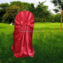 red universal satin chair cover with self-tie, banquet/folding polyester chair cover