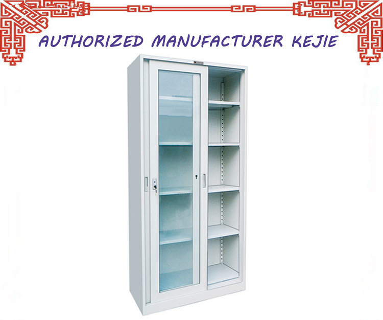 Uae Style Library Furniture Steel Display Cabinet Glass Doors Metal