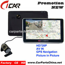 HD 720P 5'' touch screen AV IN cable gps navigator auto video registrator