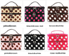 Customized Double Layer Cosmetic Bag Black with White Dot Travel Toiletry Cosmetic Makeup Bag Organizer With Mirror