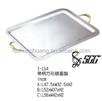 Rectangle Stainless Steel Serving Tray With Handles For Banquet / Restaurant