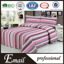 China manufacture rainbow striped printed cotton microfiber bedspread/bedding set