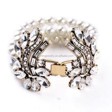 Hot Zinc alloy artificial pearl beads hand bracelet for women