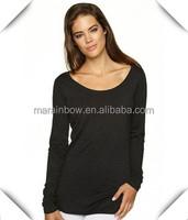 Black Plain Women's Classic Long Sleeve Burnout Tee Ladies' White Blank Scoop Neck Burnout T shirts