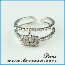 2015 fashion Micro Pave Set CZ Diamonds irregular Shaped Rings silver Plated copper Rings