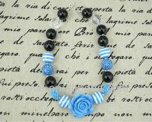Boutique Lt blue&Black Beads Chunky Bubblegum Necklace