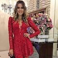 2015 moda de nueva vestido rojo encaje vestido de manga larga