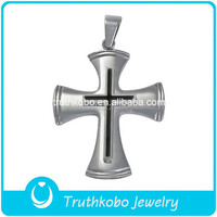 Unisex Religious Jewelry Stainless Steel Catholic Chunky Two Layers Divine Mercy Jesus Christ Crucifix Cross Rosary Pendant