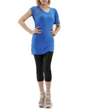 women casual t shirt with beaded