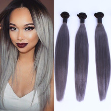 "New Arrival 8""-30"" in Stock 1b / Grey Human Hair Weaving Brazilian Straight Grey Hair Wefts"
