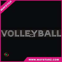 Sports Volley Ball Letter Crystals Hotfix Motif Rhinestone Transfer For Vest