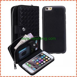 Wholesale good Weave textures pu wallet book leather case for iPhone 6