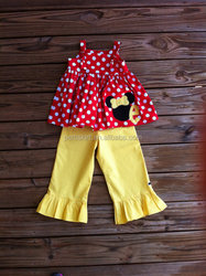 Polka dot top with plain yellow ruffle pants top and pants ruffle outfit for kids baby outfit for fall