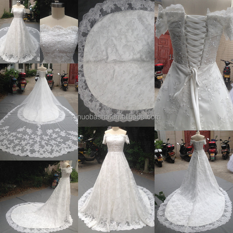Real 2014 Off-shoulder Short Sleeve Beaded Lace-up Lace Ball Gown ...