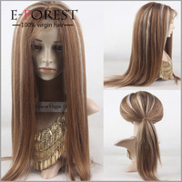 Brown Color Highlight Lace Front Wigs Ombre Human Hair Wigs For Black/White Women Silky Straight Brazilian Full Lace Wigs