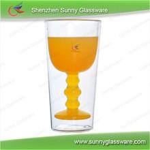 350ml pyrex double wall glass double wine glass