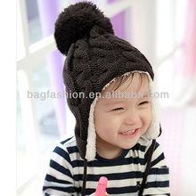 New Arrival Children Baby Knitted Hats Winter crochet Hat with villi inner Kids Earflap Cap