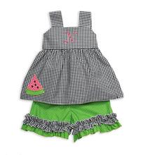 Black Gingham Lime Dot Tie Back Short Set
