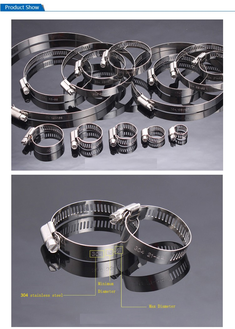 China 1/2 Band Stainless Steel American Type Hose Clamp