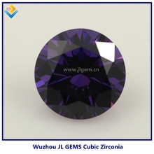 Dark amethyst aaaaa cubic zirconia wuzhou CZ gemstone 8 hearts & arrows