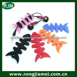 High quality fish bone silicone headphone wire/cable tidy organizer