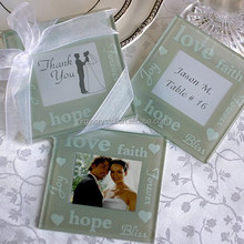 Crystal Glass Love Photo Frame Inserted Coaster For Wedding Give Away Gift