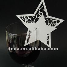 Star Design Wedding Favour Place Cards On Wine Glass
