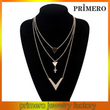 PRIMERO European and American arrow V cross necklace metal alloy necklace ab crystal three layers necklace jewelry