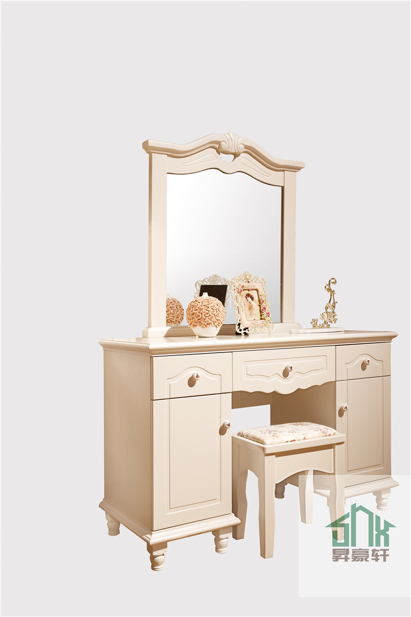 Simple design white wood dressing table ha