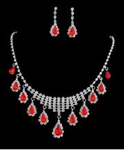 Long chain ruby stone jewelry sets wholesale tear tassel drop necklace earring sets for women