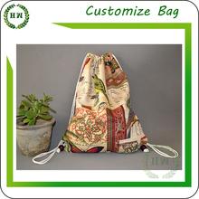 Hongway 2015 Promotional nylon gym sack, nylon drawstring gym bag with printing