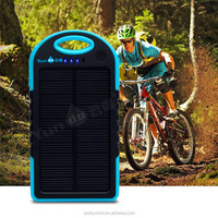Solar power universal mobile phone charger dual port usb wall charger 5000mAh