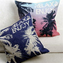 Relax and Enjoy hawii beach style photo printed pillow cover,sofa set decorative palm trees printed cushion cover