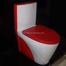 siphonic one pc toilet in rose red,toilet sanitary material toilets , ceramic colored wc