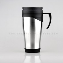 Double wall stainless steel travel car mug with plastic handle and lid