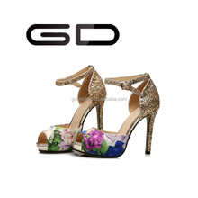 ladies glitter golden sandals women original leather or PU shoes