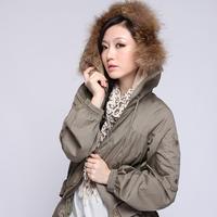 Women's European Style Rabbit Fur Collar Coat Jacket With Belt Hood Elastic Waist