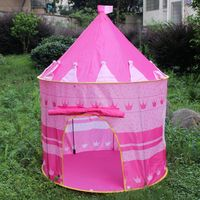Hot girl play castle ,Pop-up pink castle tent