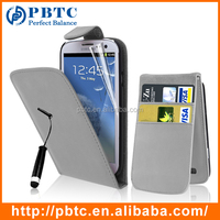 Set Screen Protector Stylus And Case For Samsung Galaxy S3 I9300 , Gray Leather Mobile Wallet