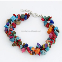 New Crushed stone bracelet colored stone bracelet