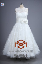Alibaba High Quality SHMY-W0026 Soft Lace Illusion Belt with Bowknot Tea-Length Ball Gown Wedding Dresses