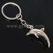 Wholesale custom cheap lovely dolphins shaped colourful key chain,alphabet charms for promotion