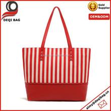 Casual Style Stripes Design Cotton Canvas Tote Bag